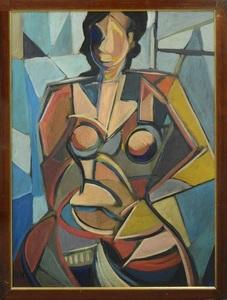 "Josef STOITZNER-MILLINGER - Pintura - ""Portrait of a Cubist Woman"" Circa 1950-60"