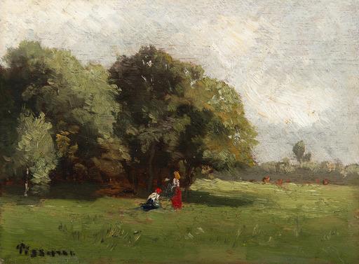 Camille PISSARRO - Painting - Personnages à la lisière