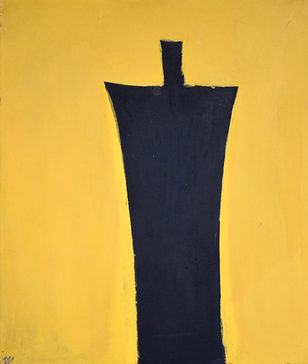 Michael GROSS - 绘画 - Untitled [Black Figure on Yellow Background]