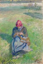 Camille PISSARRO - Drawing-Watercolor - Paysanne Tricotant
