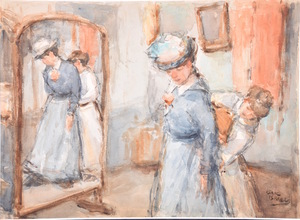 Isaac Lazarus ISRAELS - Drawing-Watercolor - Untitled (Woman visit a Dressmaker)