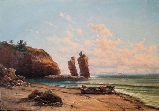 Emile GODCHAUX - Painting - Pécheurs halant  leurs barque au pied des falaise