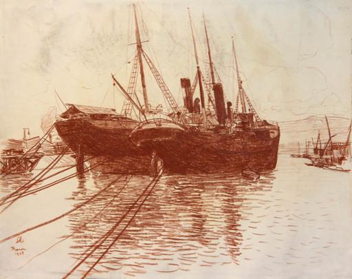 Georges LE MEILLEUR - Dibujo Acuarela - Rouen, bateau à quai