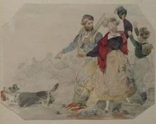 "Theodor HOSEMANN - Dibujo Acuarela - ""Stolen Roast"" by Theodor Hosemann, early 19th Century"