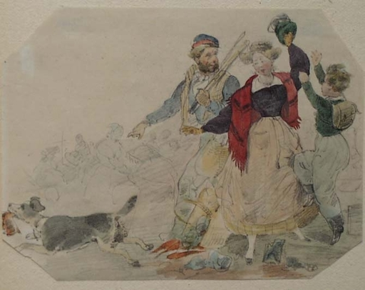 "Theodor HOSEMANN - Drawing-Watercolor - ""Stolen Roast"" by Theodor Hosemann, early 19th Century"