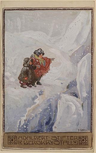 "Franz GRUSS - Drawing-Watercolor - Illustration to Adalbert Stifter's ""Rock Crystal"""