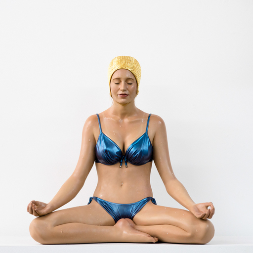 Carole FEUERMAN - Escultura - Miniature Balance with Gold Cap and Blue Bathing Suit