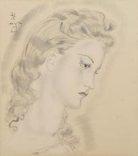 Tsuguharu FOUJITA - Disegno Acquarello - Portrait de jeune femme blonde