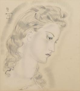Tsuguharu FOUJITA - Drawing-Watercolor - Portrait de jeune femme blonde