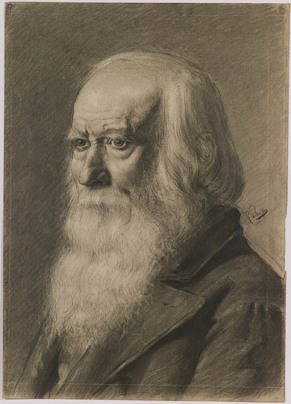 "Robert SCHEFFER - Zeichnung Aquarell - ""Portrait of an Old Man"", 1881"