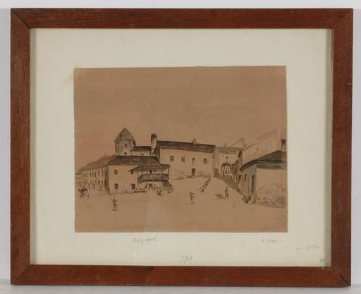 "Emil HÜTTER - Dibujo Acuarela - ""Ratzenstadl in Vienna"", 1871, Drawing"
