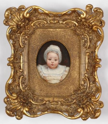 "Adèle ROMANY - Miniature - ""Portrait of a Little Child"", Oil on Panel, Miniature"
