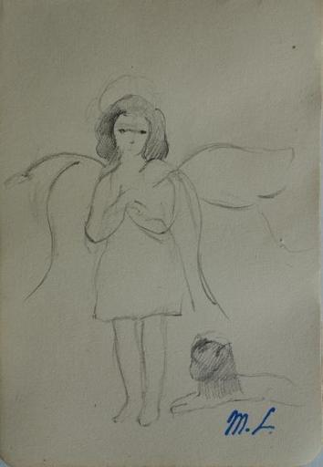 Marie LAURENCIN - Drawing-Watercolor - Angel with a little cat