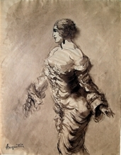 Louis ANQUETIN - Dessin-Aquarelle - Barbusige Frau im Kleid