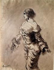Louis ANQUETIN - Dibujo Acuarela - Barbusige Frau im Kleid
