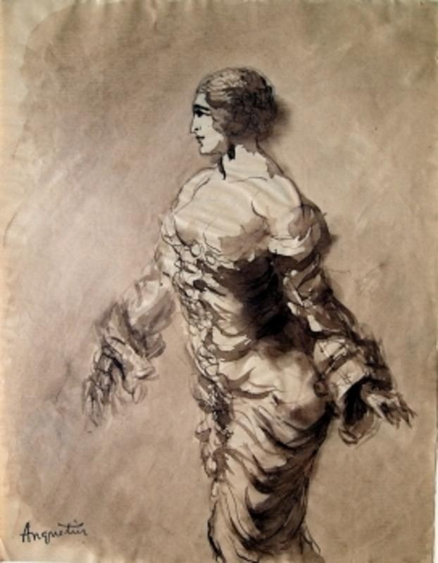 Louis ANQUETIN - Disegno Acquarello - Barbusige Frau im Kleid
