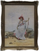 """Maximilienne Goepp GUYON - Dibujo Acuarela - """"Lady by the Sea"""", Watercolor, late 19th Century"""