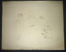 Jules PASCIN - Disegno Acquarello - planche étude personnages (double face)