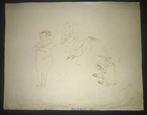 Jules PASCIN - Dibujo Acuarela - planche étude personnages (double face)