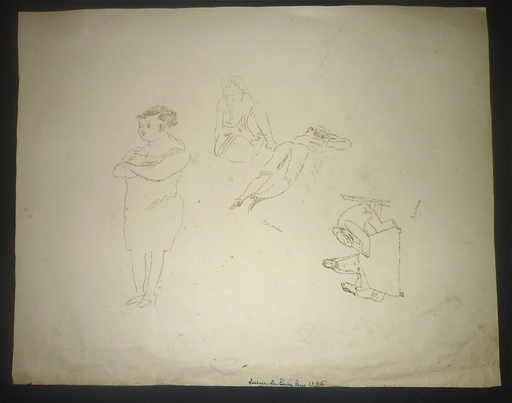 Jules PASCIN - Drawing-Watercolor - planche étude personnages (double face)