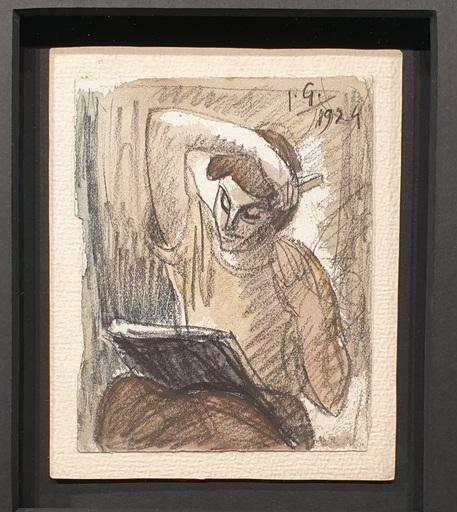 Julio GONZALEZ - Dibujo Acuarela - Femme se coifing et lisant
