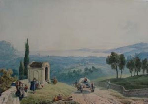 Gabriel II LORY - Dibujo Acuarela - vue de la côte italienne