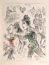 "Marc CHAGALL (1887-1985) - ""Clown with a yellow goat"""