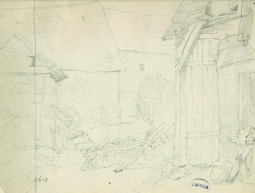 Leopold MUNSCH - Dibujo Acuarela - Study of a Farm Building and Farm Machinery