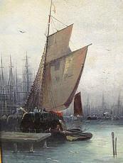 L. REBOURGEON - Painting - Segelboote im Hafen