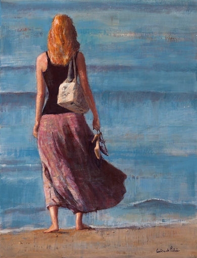 Caroline DE PIÉDOÜE - Painting - La Jeune Femme et la Mer