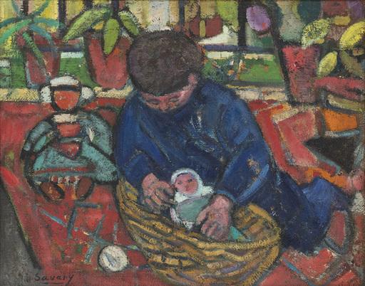 Robert SAVARY - Peinture - Dominique et sa poupée