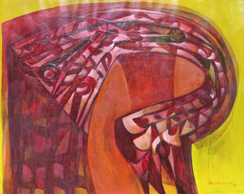 Raul Enmanuel POZO - Pintura - Formas en amarillo y rojo II