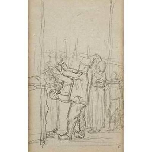 Pierre BONNARD - Disegno Acquarello - Paysans au travail - Peasants at Work