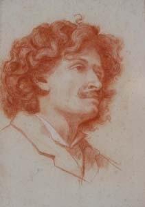 Auguste BACHELIN - Zeichnung Aquarell - Portrait