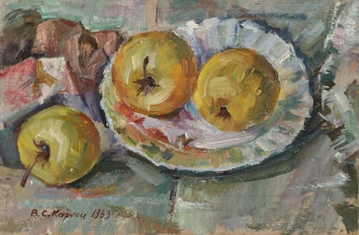 "Vassili KARKOTS - Gemälde - ""Still Life with Apples"" by Vasili Sergeevich Karkots, 1963"