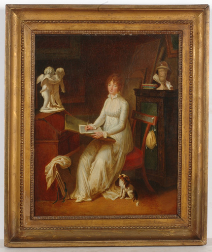 """Marguerite GÉRARD (Attrib.) - Painting - """"Young female artist in atelier interior"""", oil, 1805/10"""