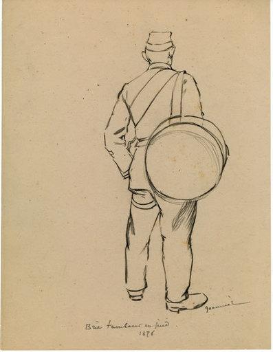 Pierre Georges JEANNIOT - Disegno Acquarello - Brie tambour 1876