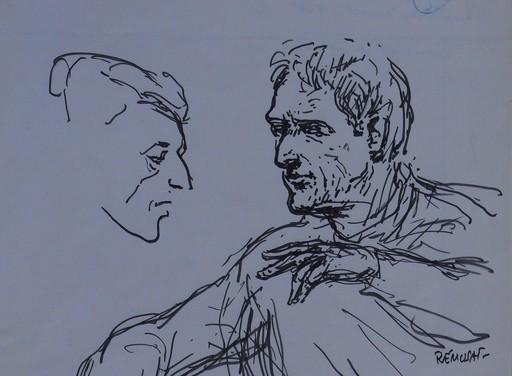 Claude RÉMUSAT - Drawing-Watercolor - Lukas FOSS conduisant XENAKIS en répétion le 26 octobre 1968