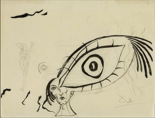 Salvador DALI - Drawing-Watercolor - Etude de l'oeil
