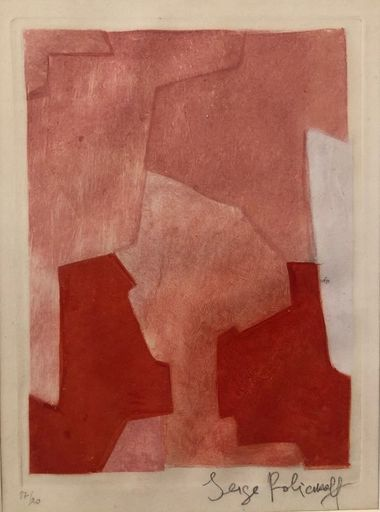 Serge POLIAKOFF - Estampe-Multiple - Composition rose n° XXII