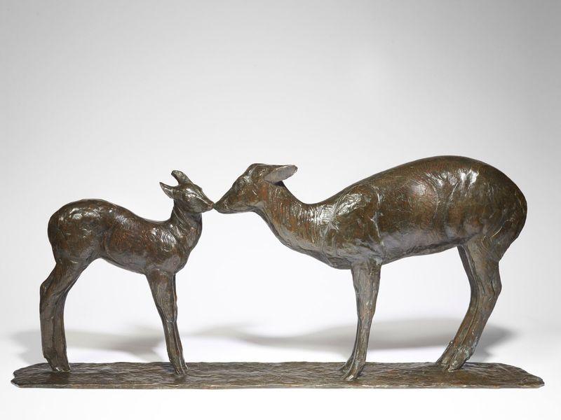 伦勃朗·布佳迪 - 雕塑 - Biche et faon axis