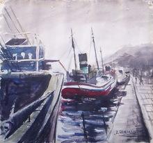 Antonio HEREDERO GUZMAN - Disegno Acquarello - barcos