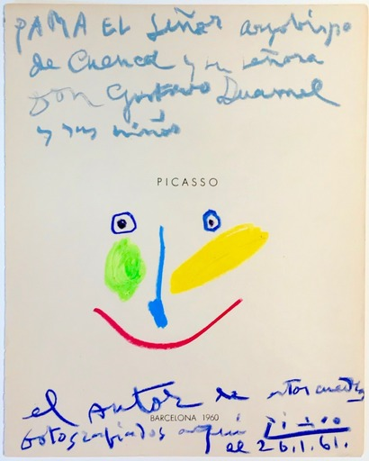 Pablo PICASSO - Dibujo Acuarela - Tête colorée
