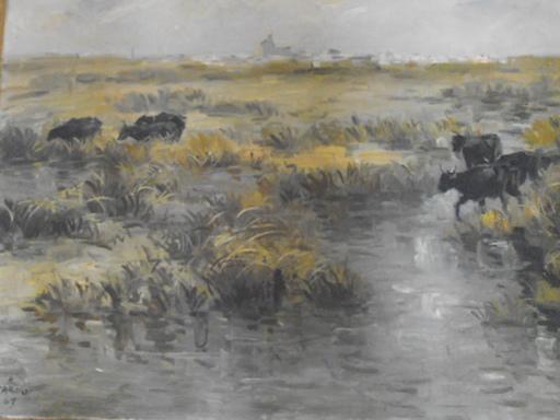 ZAROU - Gemälde - Paysage de Camargue,Aigues Mortes,1961..