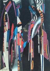 Alix RIST - Dibujo Acuarela - Collage, vers 1965