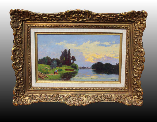 Jacques Henri DELPY - Painting - Lavandière au bord de la rivière