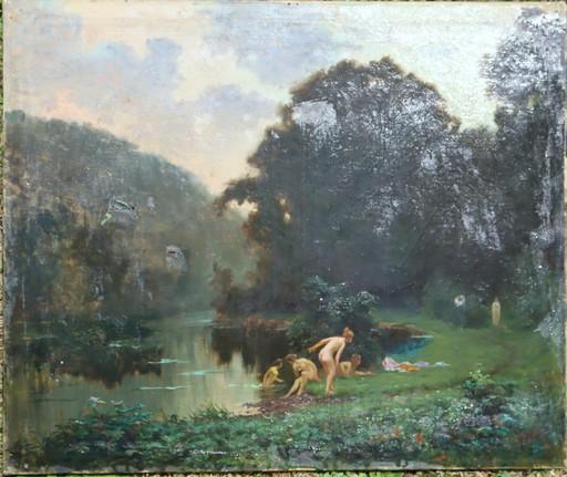 """Alfred PLAUZEAU - Painting - """"BAIGNEUSES EFFRAYEES PAR UN ERMITE"""""""