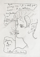 Jean COCTEAU - Drawing-Watercolor - Faun a la brindille