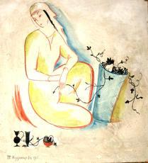 Pavel Varfolomeevich KUZNETSOV - Painting - Woman Holding Grapevines