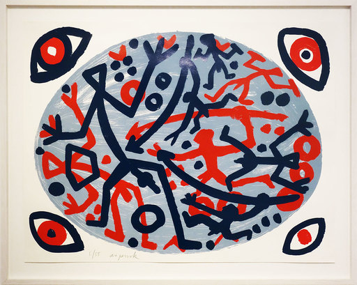 A.R. PENCK - Grabado - Weltbild blau-blau-rot